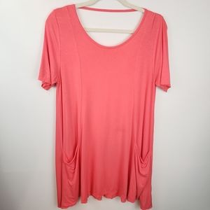 a.gain Coral Soft Open Back Tunic Size M